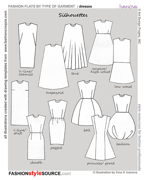 silhouettes dresses
