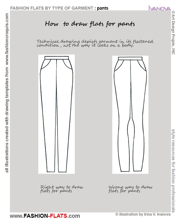 how to draw flats for pants